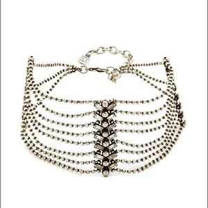 DANNIJO Tempest Choker Necklace, Ox Silver/Crystal